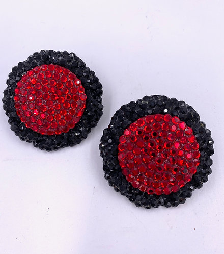 Round Red Color Block Sparkle Disco Ball Earrings