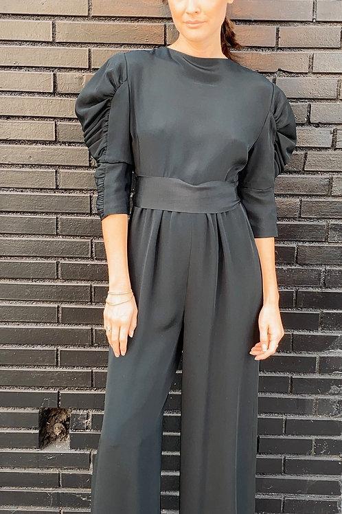 James Galanos Silk Black Jumpsuit
