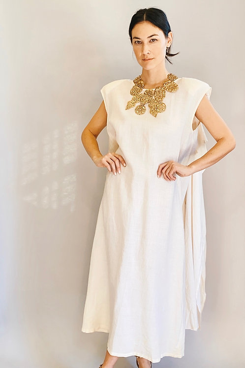 White Sleeveless Linen Gown with Cape