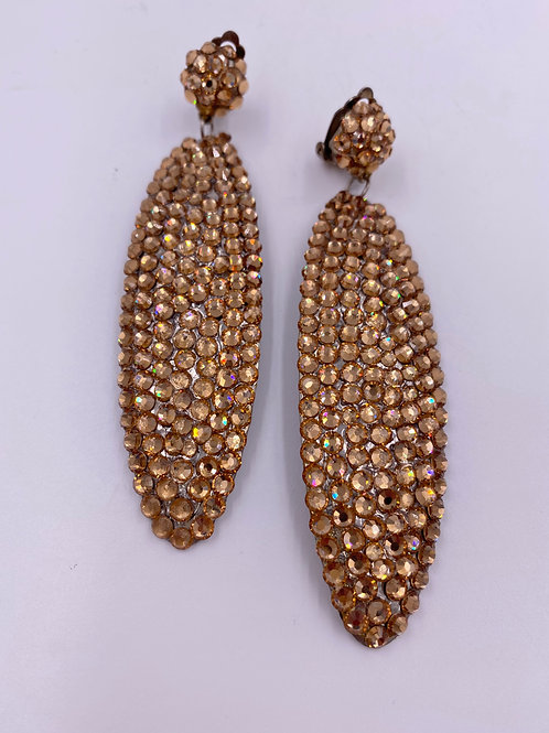 Vtg Gold Crystal Drop Oval  Clip Earrings