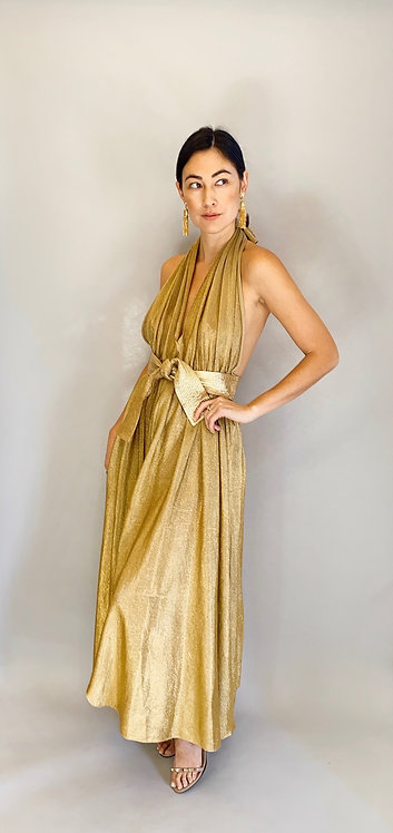 1970's Bill Tice Liquid Gold Halter Neck, open back dress