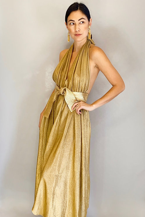 1970's Bill Tice Liquid Gold Halter Neck, open back dress