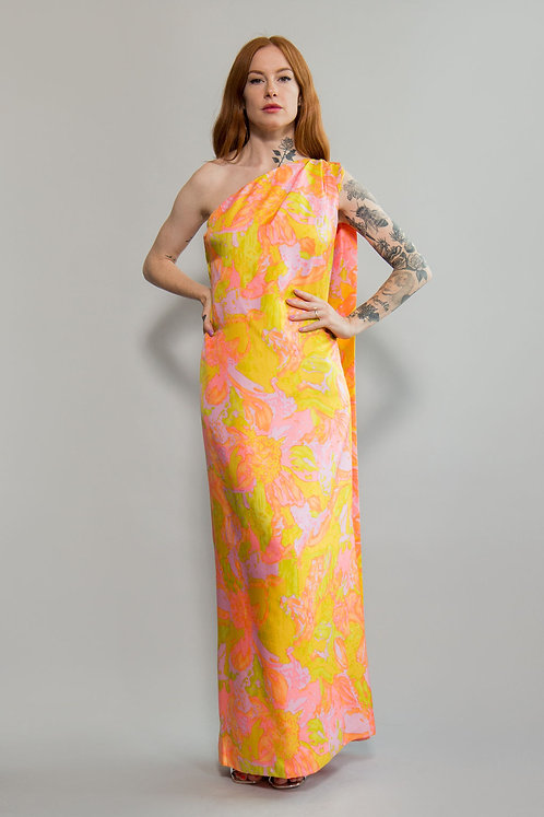 60s One Shoulder Pastel Gown with Cape
