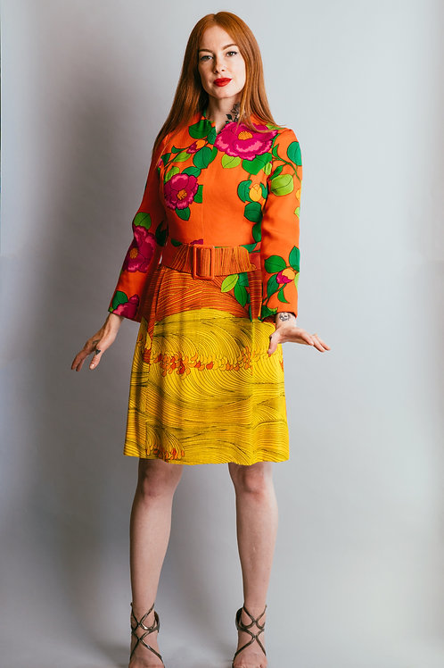 Vintage Hanae Mori Silk Floral Print Cocktail Dress