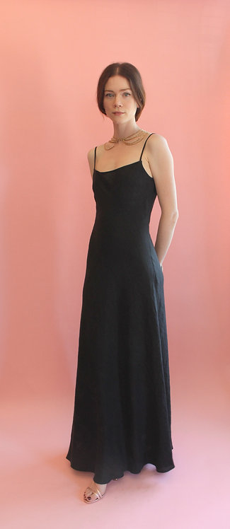 Jane Booke Black Linen Slip Dress