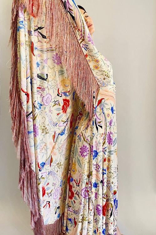 1970's Missoni Bird Print Silk Jersey Fringe Gown/Caftan