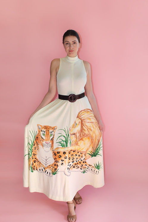 Saks Fifth Ave Lion & Tiger Hand Painted Mock Neck Dress