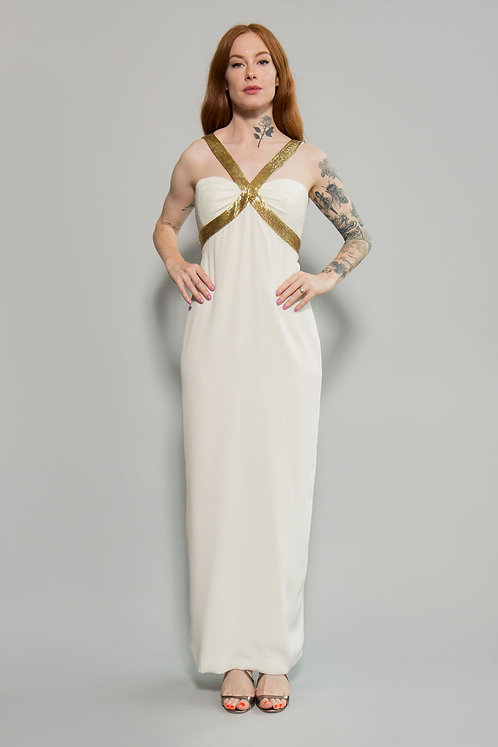 White with Gold Beaded Dress
