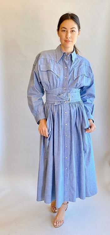 Thierry Mugler Denim Belted Dress