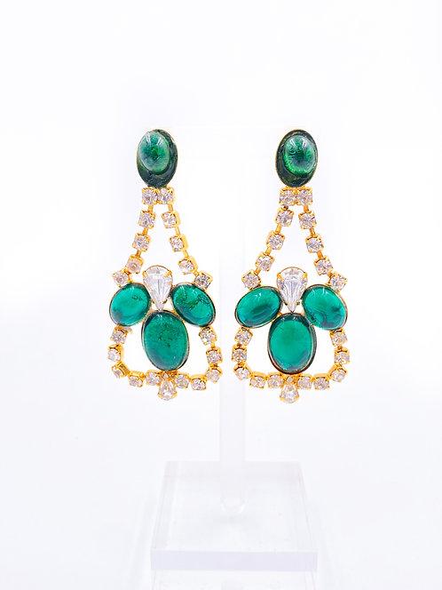 Emerald Chandelier Clip On Earrings