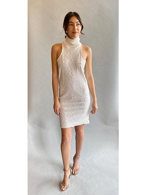 Anna Sui White Racerback, Turtleneck, Mini Cocktail Dress