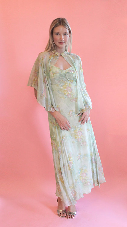 Mint Julep Floral Dress with Cape