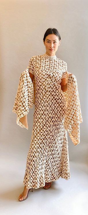 1970's Werle of Beverly Hills Crochet Gown & Shawl