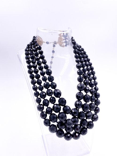 Black Bead Multi-Strand Necklace