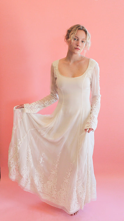 Jane Booke Embroidered White Gown