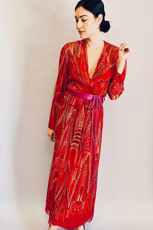 1985 Zandra Rhodes Manhattan Skyline Print Dress Dress