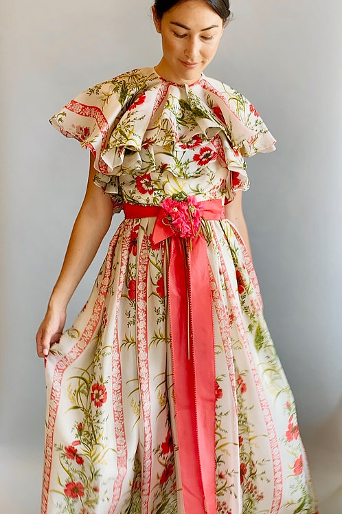 1970's Floral Printed Dress with Ruffled Cape