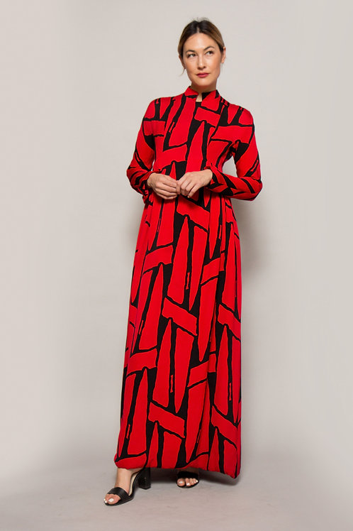 1960's Geoffrey Beene Red & Black Printed Mandarin Collar Dress
