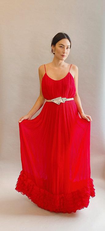 Bill Blass Red Chiffon Pleated Slip Dress Gown