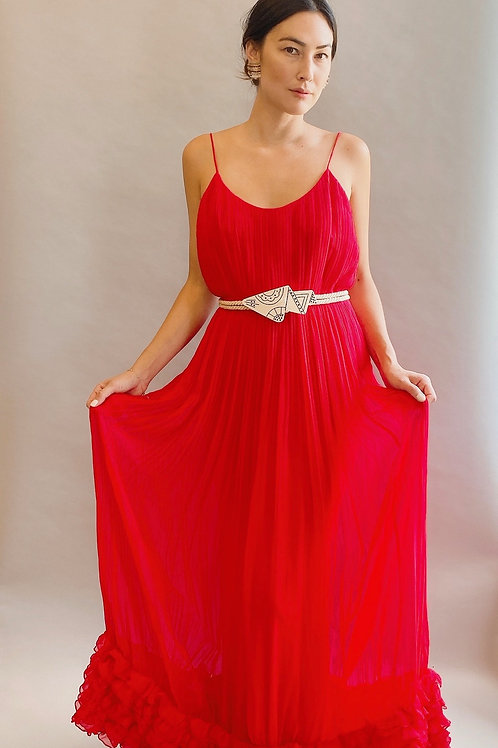 Bill Blass Red Chiffon Pleated Slip Dress Gown