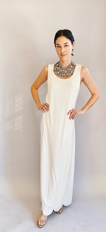 Comme Des Garçons White/Cream Scoop Neck, Scallped Edge Gown/Dress
