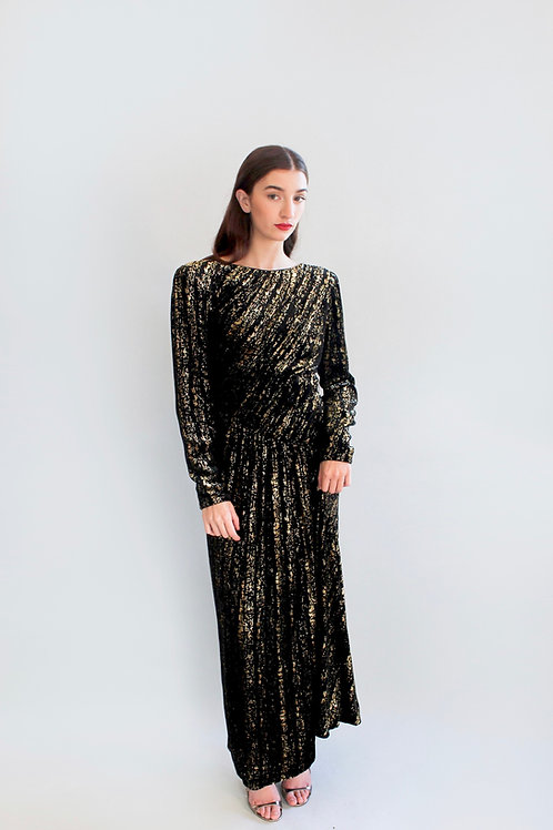 Mary McFadden Couture Black Velvet and Gold Gown