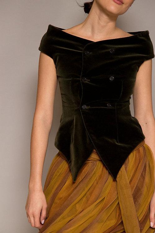 1990's Romeo Gigli Velvet Cowl Neck Vest