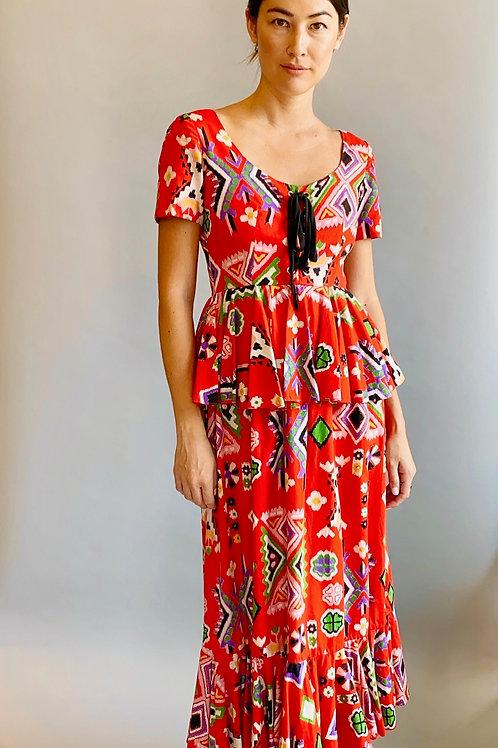 1970's Oscar De La Renta Cotton Corseted Dress