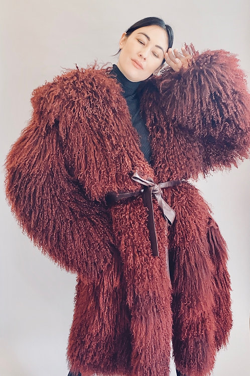 Sam Kori Atelier Mongolian Fur Hooded Coat with Leather Belt