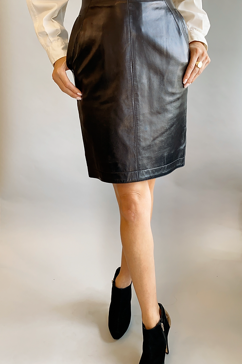 Claude Montana High Waisted Leather Skirt