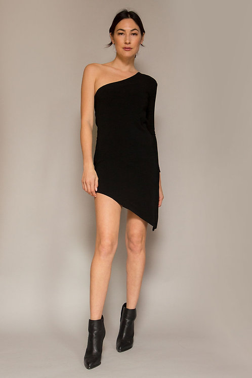 1970's Halston One Shoulder Dress