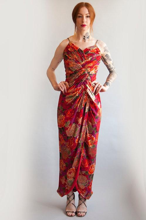 Scaasi Floral Print Dress