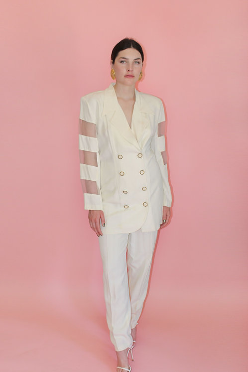 White 1980's Sheer Cut Out Suit