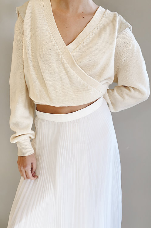 Semplice Wool Sweater with Leather Shoulder Patchwork