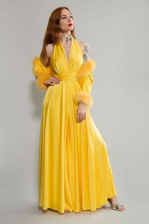 70s I Magnin Yellow Jumpsuit & Marabou Feathers Jacket Set