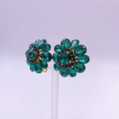 Emerald Crystal Clip Earrings