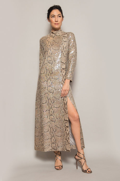 Italian Python Sequin mock-neck gown