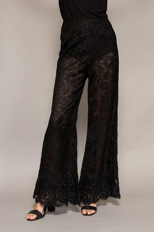 Black Lace Bell Bottom Pants