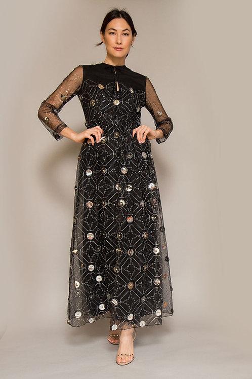 1970s Oscar de la Renta Black Gown with Silver Paillettes