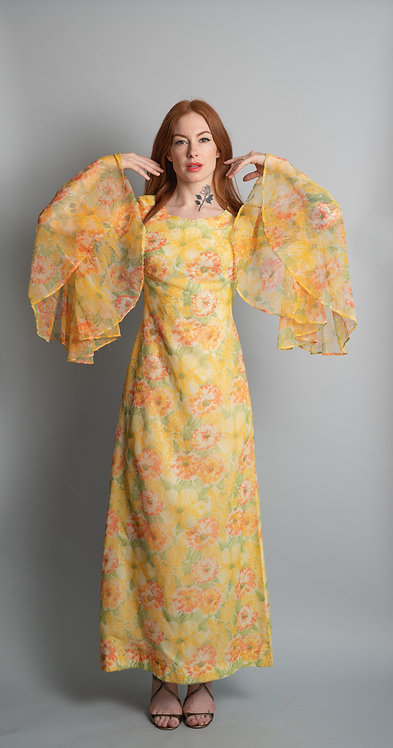 Vintage 1970's Sheer Floral Dress with Bell Sleeves