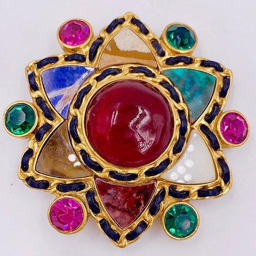 Chanel Gripoix 1995 5 Stone Star Brooch