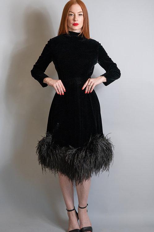 Vintage 1960's Pat Sandler Black Velvet Cocktail Dress with Ostrich Feather