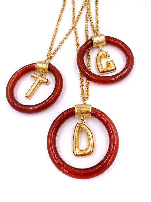 70's Initial Pendant Necklace