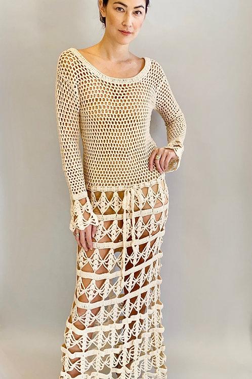 1970's Crochet Winter White Dress