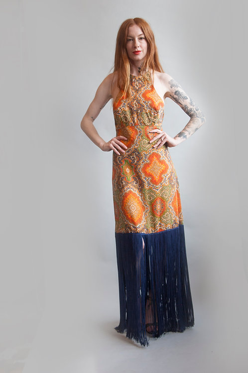 70's Paisley Fringe Dress