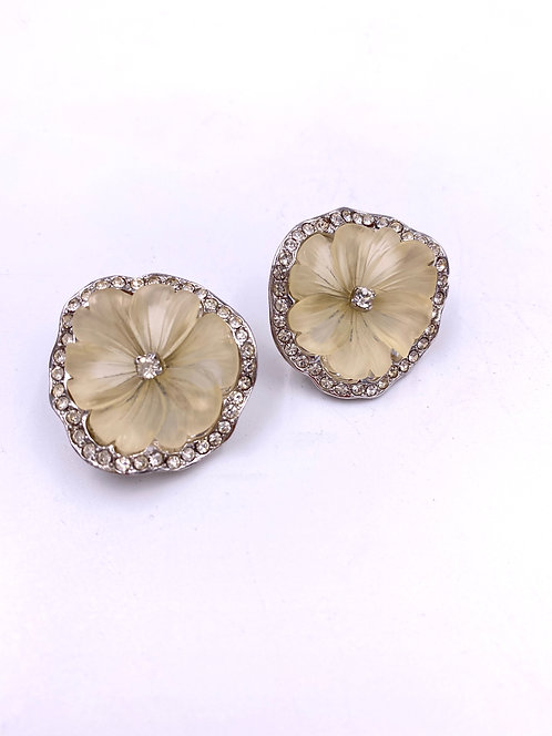 Kenneth Jay Lane Vintage 1980's Floral & Rhinestone Earrings