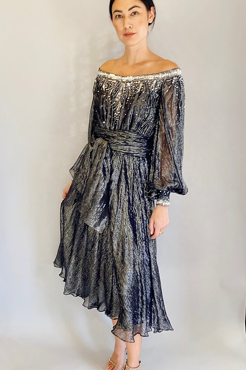 Nolan Miller Silver Lame Metallic, Sequin, and Rhinestone Cocktail Dress
