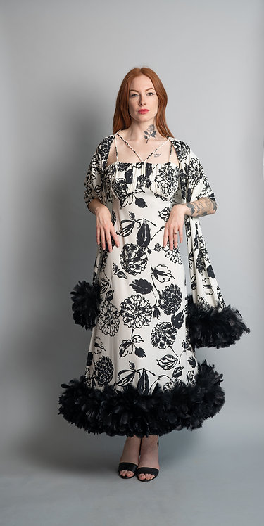 Vintage 1970's Rose Taft Black and White Printed Dress with Feather Hem