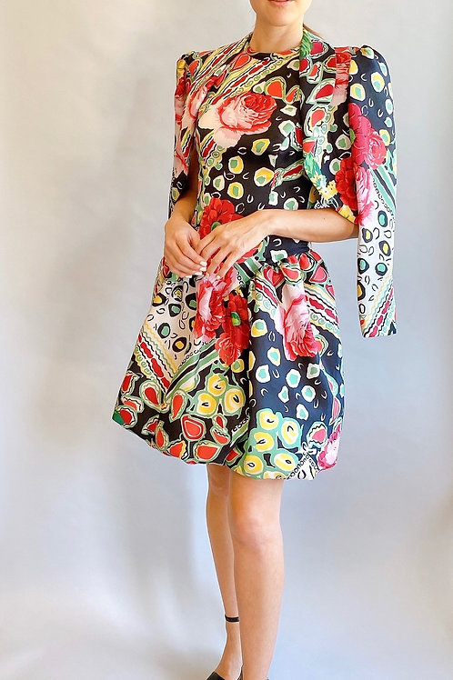Silk Printed Dress and Cropped Jacket