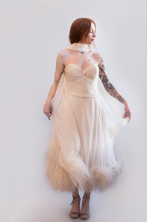 Chiffon Ostrich Feather Dress